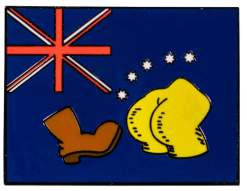 Image Simpsons - Bart vs Australia Flag Enamel Pin